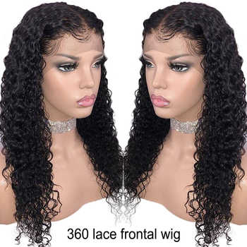 150% Density 360 Lace Frontal Wig For Women Brazilian Remy Hair Pre Plucked Natural Curly Human Hair Wigs Bleached Knots - DISCOUNT ITEM  45% OFF All Category