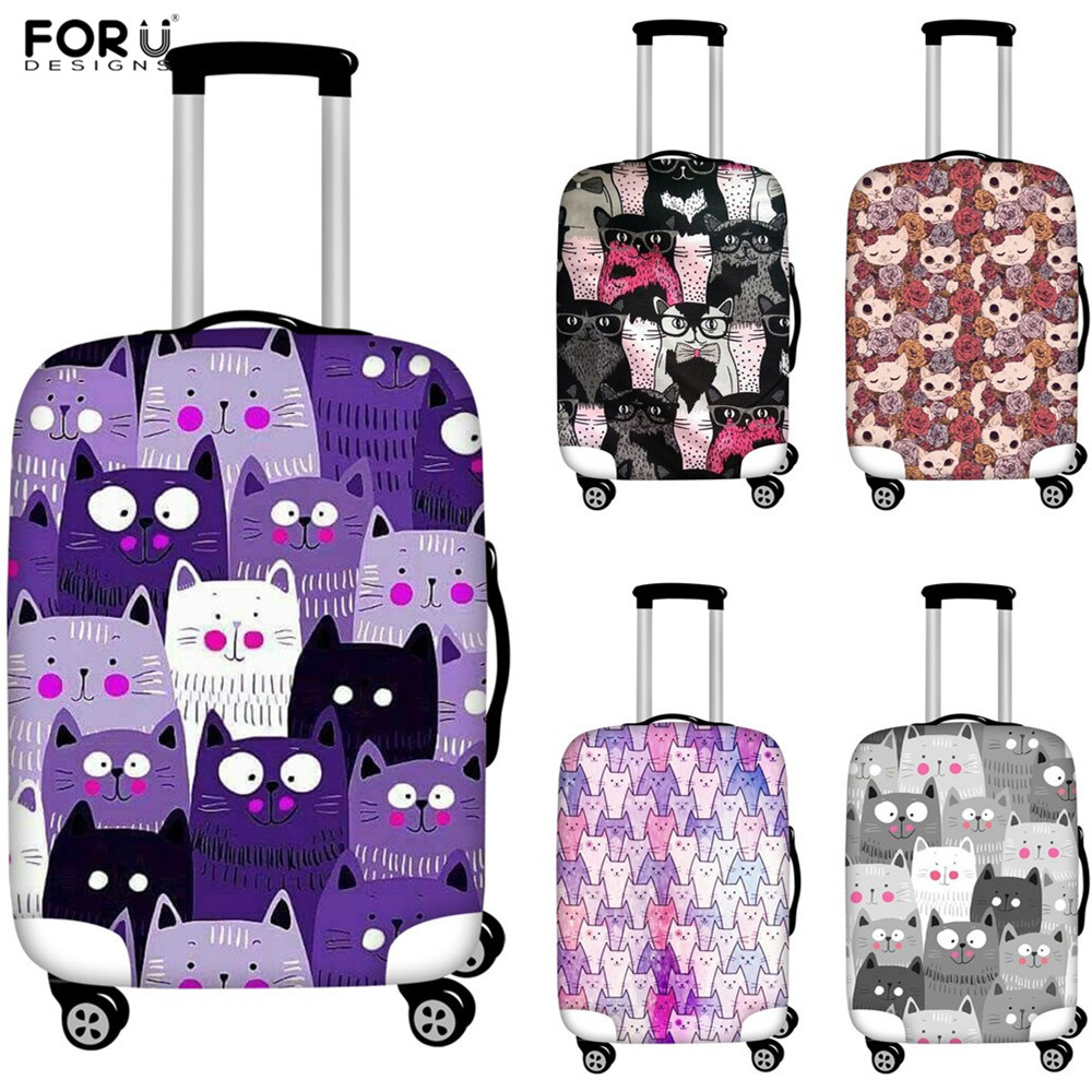 FORUDESIGNS Travel Accessories Organizer Luggage Protective Covers Cartoon Cats Animals Print Suitcase Dust Covers Luggage Tag
