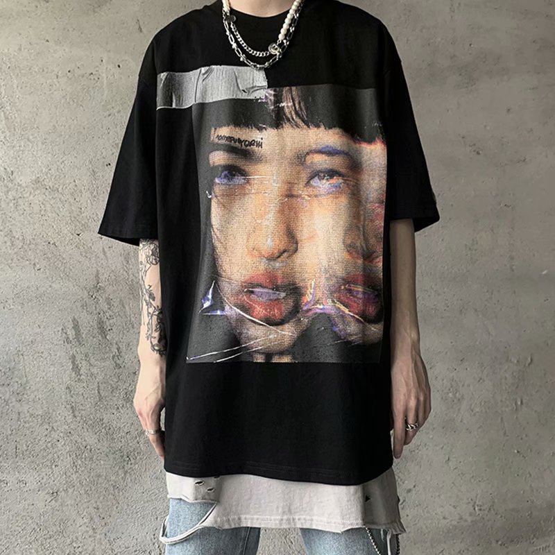 2020New Trend Street Asian Style Printing Short Sleeve Portrait Printing Retro Dark Funeral Loose Fashion T-shirt Men's Top