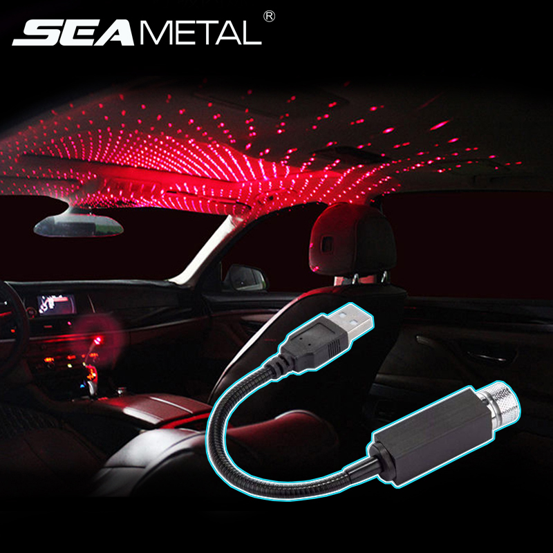 Car USB Lights Laser Roof light Auto Ambient Decorative Lamp Atmosphere Star Lamp Adjustable LED For Car Home Room Accessories