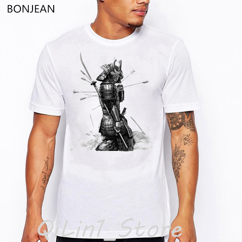 Japanese samurai print tee shirt homme harajuku summer white t shirt top tumblr clothes men t shirt streetwear cool anime tshirt in T Shirts from Men 39 s Clothing