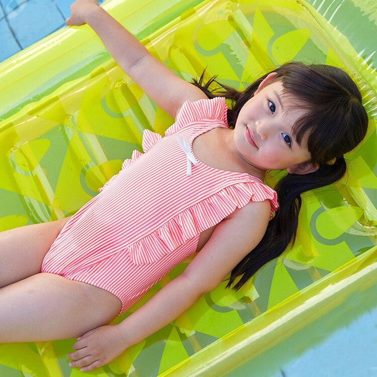 2019 New Style KID'S Swimwear Small Children GIRL'S Seersucker Stripes Orange Butterfly Sweet Knot One-piece Swimwear