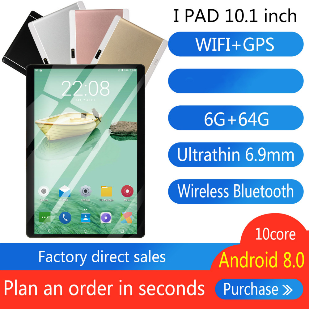 10 Inch Octa Core 6G+64GB Android 8.0 WiFi Tablet PC Dual SIM Dual Camera Bluetooth MTK8752 4G WiFi Call Phone Tablet Gifts