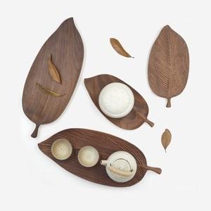 Image 4 - Musowood Wooden Leaf Tray For Tea Set Cup Fruit Snake Dessert Home Decoration For Hotel Office Black Walnut Leaves Plate Sample