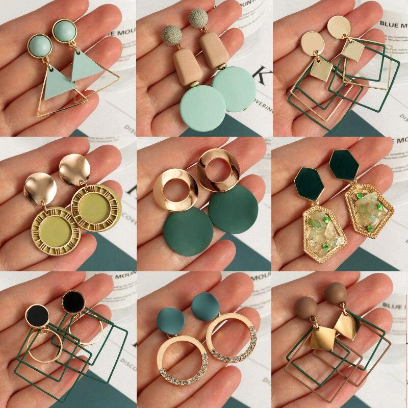Korean Statement Earrings For Women 2020 Fashion Vintage Green Arcylic Gold Geometric Tassel Drop Earings Female Brincos Jewelry