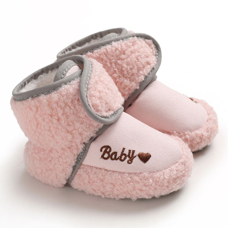 Baby Toddler Shoes Babies Winter Warm Booties Faux Fleece Anti-Slip Toddler Newborn Baby Shoes Letter Crib Shoes Snow Boots