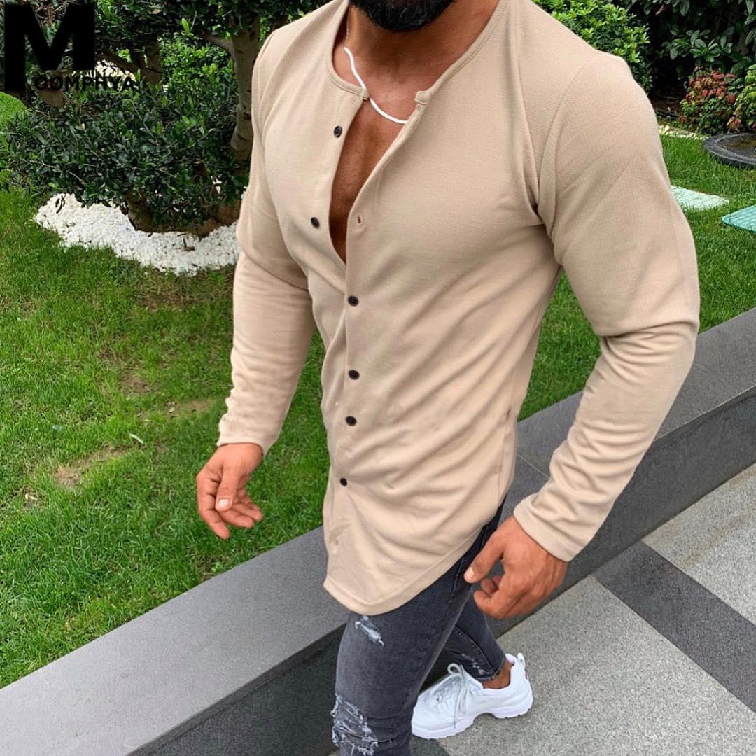 Moomphya Single Breasted Long Sleeve T Shirt Men Streetwear Longline Hem Skinny T-shirt Men Hip Hop Fashion Funny Tshirt