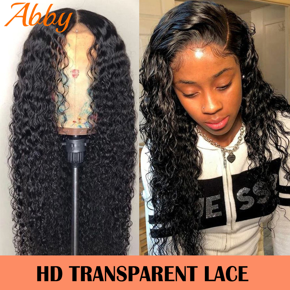 ABBY Water Wave Human Hair Wigs 180% Density HD Transparent Lace Frontal Wigs For Women Water Wave Lace Front Human Hair Wigs