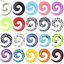 Alisouy 2 pçs acrílico espiral orelha calibres preto branco orelha taper alongamento plugues e expansores túnel corpo piercing jóias 1.6-24m