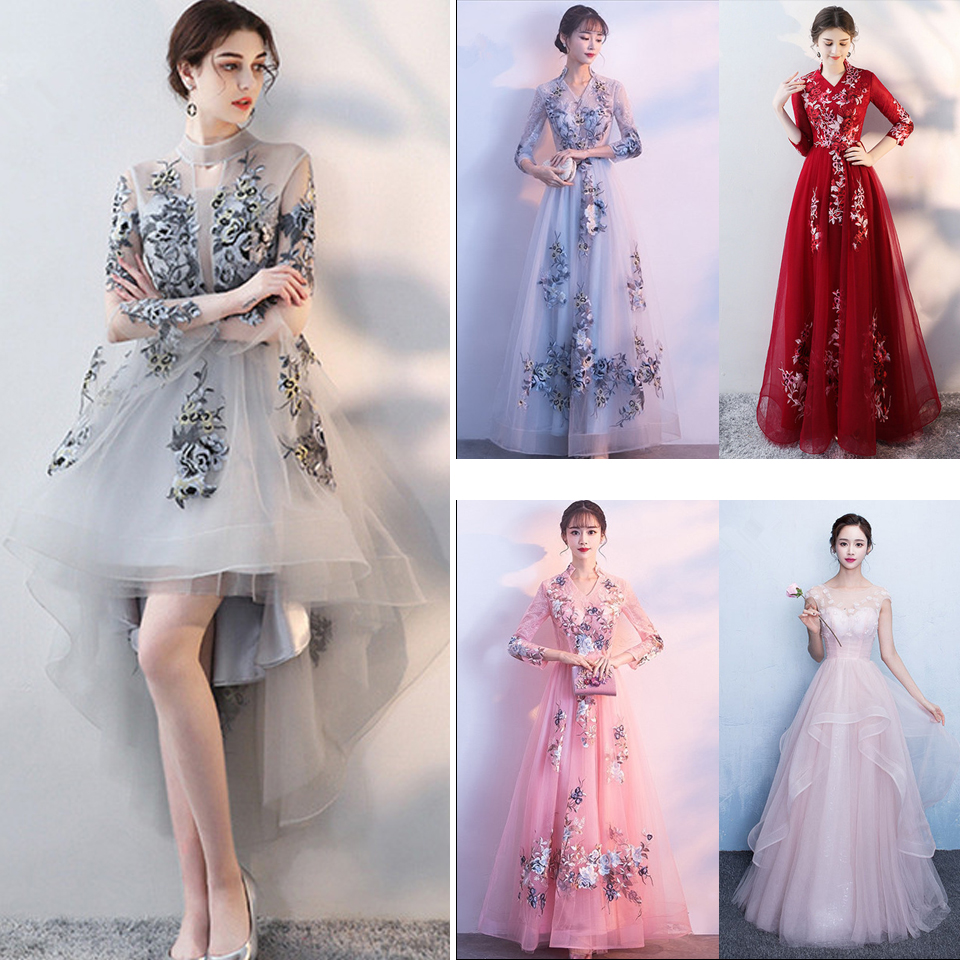 In Stock High Collar Three Quarter Sleeves Embroidery Zipper Party Frocks Dresses Floor Length Evening Dress LX012 More Style