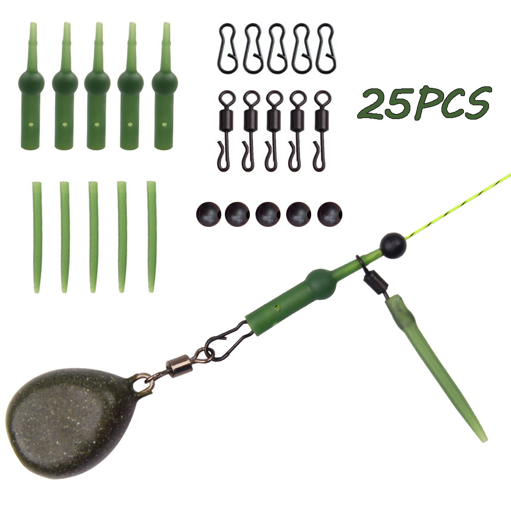 25Pcs Carp Fishing Accessories Set With Rolling Quick Change Swivels Anti Tangle Sleeves Chod Rig Buffer Tapered Tail Helicopter title=
