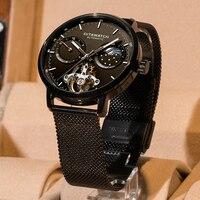 Esqueleto tourbillon relógio de negócios mecânico masculino marca superior luxo luminoso aço inoxidável relógios automáticos novos 2019 dita