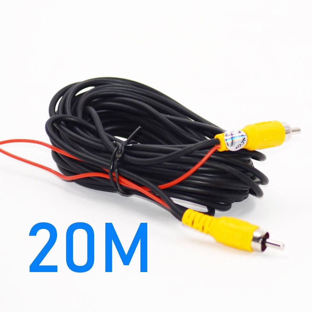 Универсальный авто RCA AV кабель жгут проводов для автомобиля заднего вида камеры парковки 6 м видео удлинитель - Название цвета: 20M