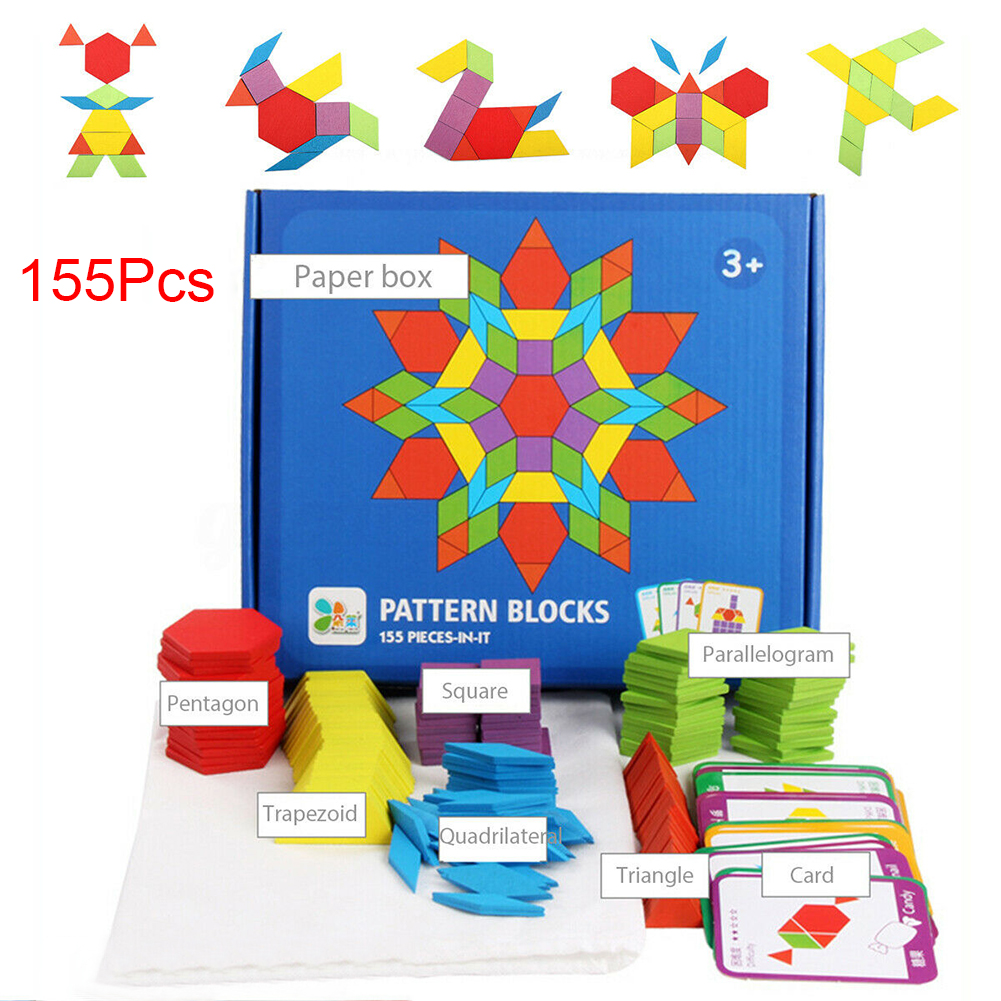 155pcs Kids Educational Toys Funny Montessori Intelligence Games Learning Wooden Block Set Shapes Dissection Colorful IQ Pattern