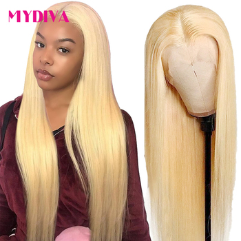 Glueless 613 Blonde Lace Front Human Hair 150% Middle Part Brazilian Straight Hair Transparent Lace Frontal Wigs Remy Hair image