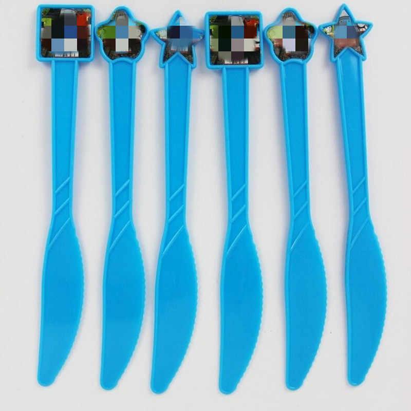 6PC การ์ตูนของเล่นกระดาษทิ้งผ้ากันเปื้อนแบนเนอร์ตารางผ้าหลอดถ้วยแผ่น Baby Shower Birthday Party อุปกรณ์ตกแต่ง