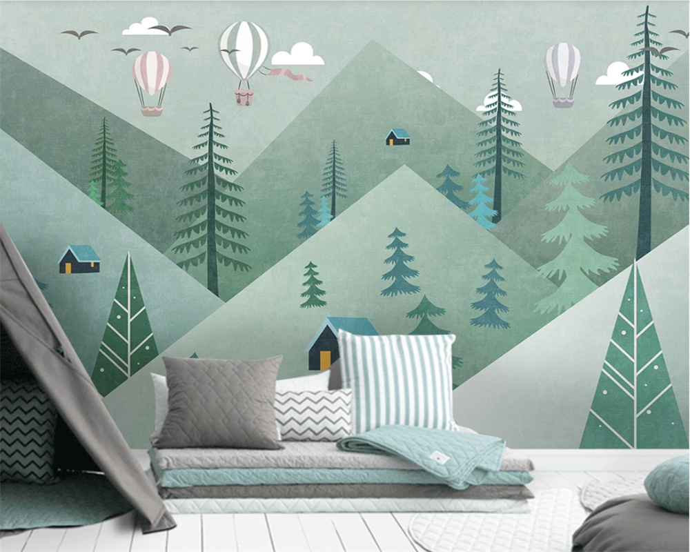 Beibehang Custom Modern Fresh Light Simple Cute Geometric Mountain Forest Balloon Children's Room Background 3d Wallpaper
