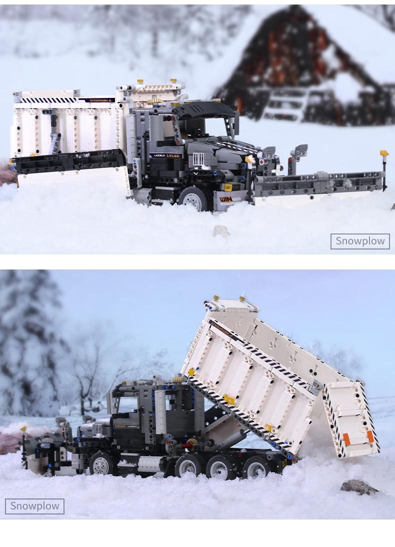 MOULD KING 13166 MOC-29800 Compatible 42078 Snowplow Truck Building Block (1694PCS) 13