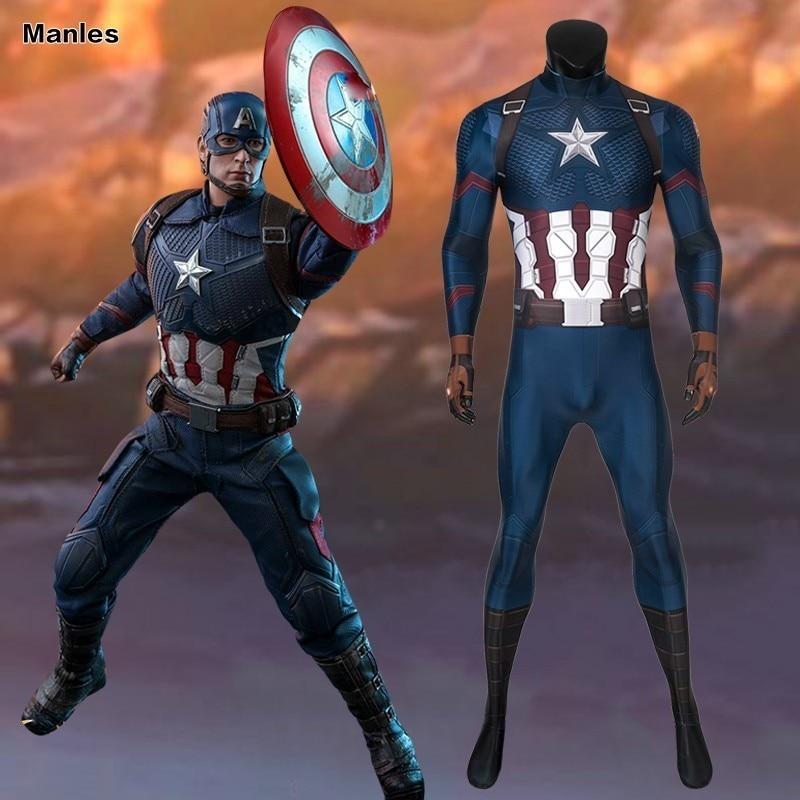 Avengers 4 Endgame Captain America Costume Cosplay Steve Rogers Adult Quantum Realm Halloween Carnival Jumpsuit 3D Print Marvel