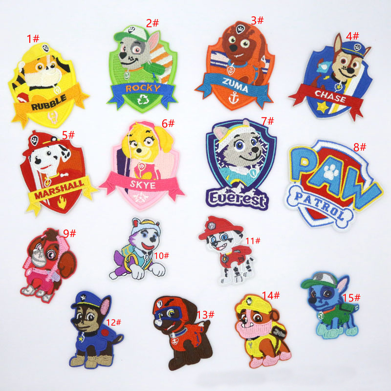 7/8 Pcs Paw Patrol Patch Sticker Stitching Embroidery Stickers Kid School Bag Cartoon Pattern Handmade Collection Pattern