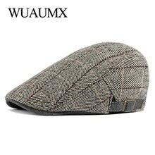 Hat Visor Beret-Hats Peaked Retro British Flat Wuaumx Middle-Aged Autumn Men Ivy-Cap