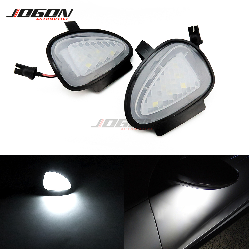 Car Rearview Mirror Bottom <font><b>LED</b></font> Welcome Courtesy Light Puddle Flashlight <font><b>Trim</b></font> For Volkswagen VW <font><b>GOLF</b></font> 6 MK6 GTI R32 2008 - 2014 image
