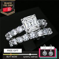 New Arrival 1 carat asscher cut Diamond Ring not fake S925 sterling silver fine wedding proposal anniversary yes i do engagement