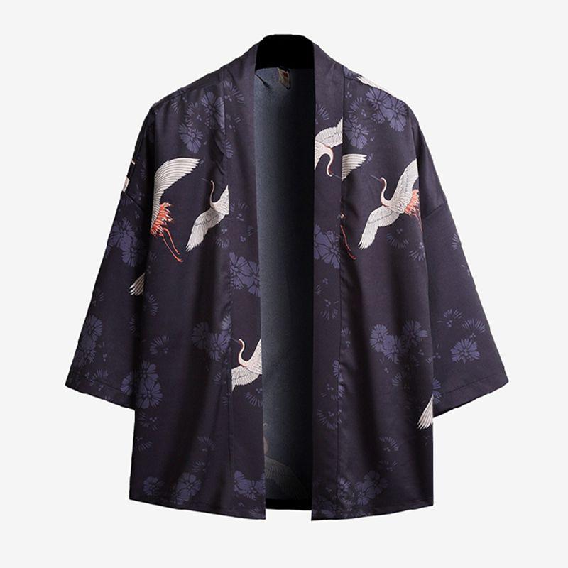 Literary Japanese Kimono Yukata Man Japanese Short Robe Loose Kimomo Chinese Style Cardigan Kimono Haori
