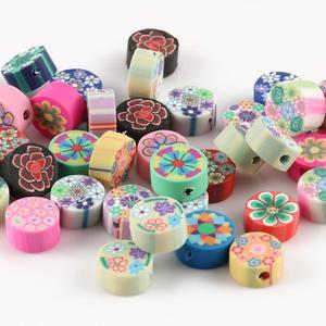 50 stücke 10mm Obst Tier Druck Perlen Polymer Clay Perlen Mischfarbe Polymer Clay Spacer Perlen für Schmuck Machen DIY Armband