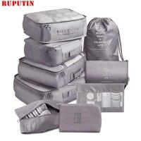 9-stück Koffer Organisieren Lagerung Tasche Tragbaren Kosmetik Tasche Kleidung Unterwäsche Schuhe Verpackung Set Hohe Qualität Reise Make-Up Tasche