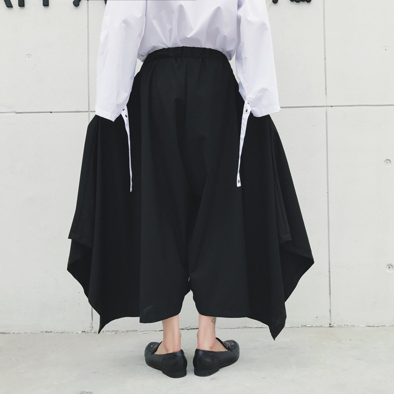 Spring Harajuku Mens Baggy Ankle Length Flare Wide Leg Irregular Pantskirt Loose Fit Elastic Waist Harem Pants Plus Size 15