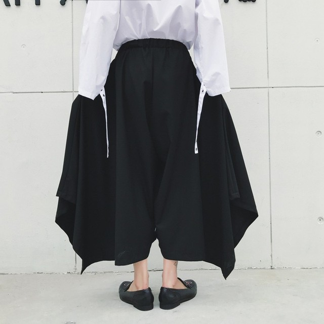 Spring Harajuku Mens Baggy Ankle Length Flare Wide Leg Irregular Pantskirt Loose Fit Elastic Waist Harem Pants Plus Size 4