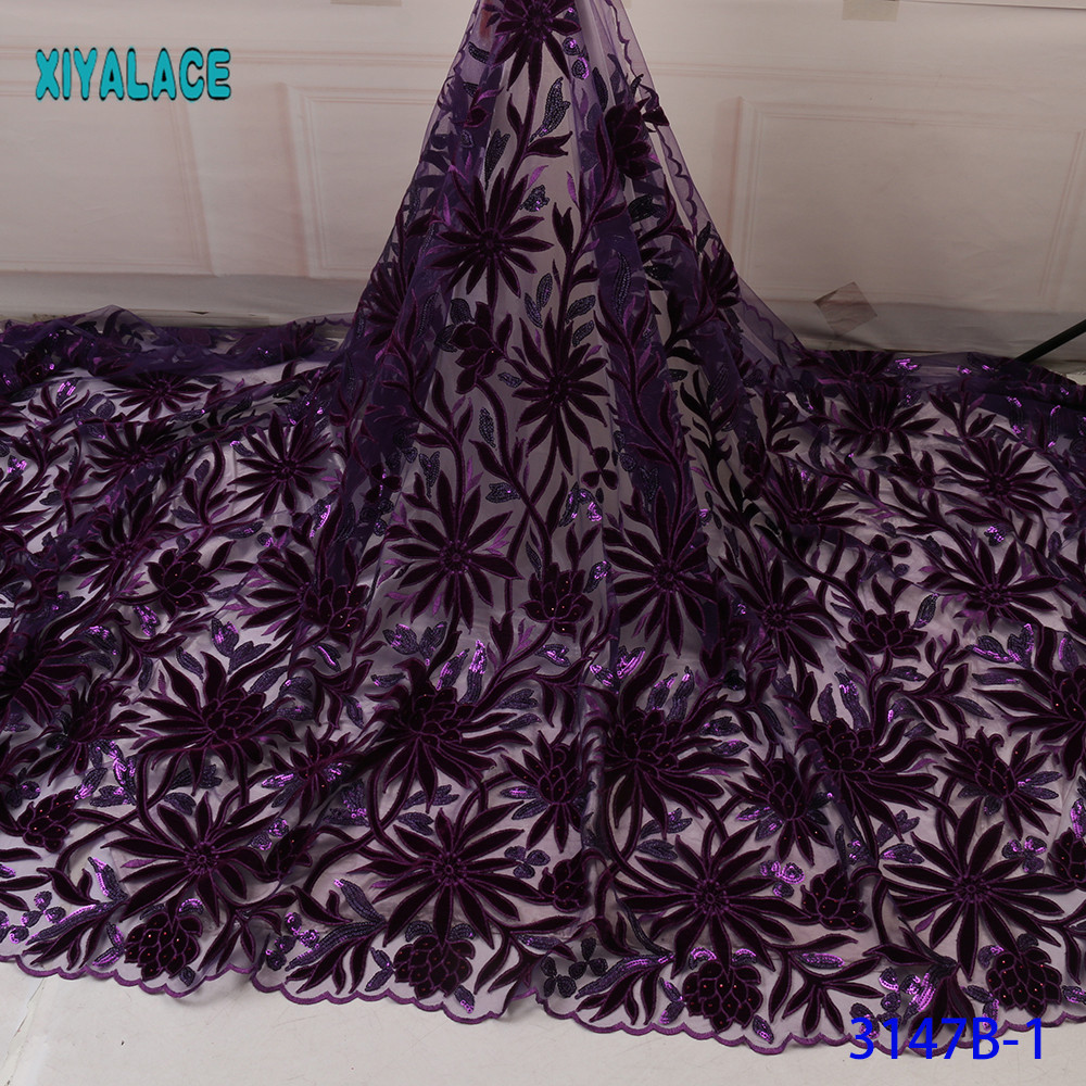 Purple African Lace Fabrics Organza Lace Fabric 2019 High Quality Nigerian French Tulle Lace With Net Lace Fabric YA3147B-1