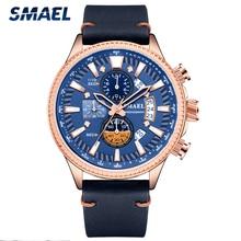 SMAEL Military Watch Chronograph Top Luxury Brand Men Leather Sport Quartz Wristwatch Man Automatic Date Clock Relogio Masculino