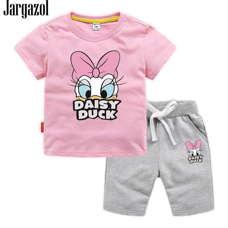 Jargazol Baby Girl Clothes Cartoon Duck Printed Summer Short Sleeve T Shirt&shorts Toddler Boy Vlothign Set Children Outfits 1