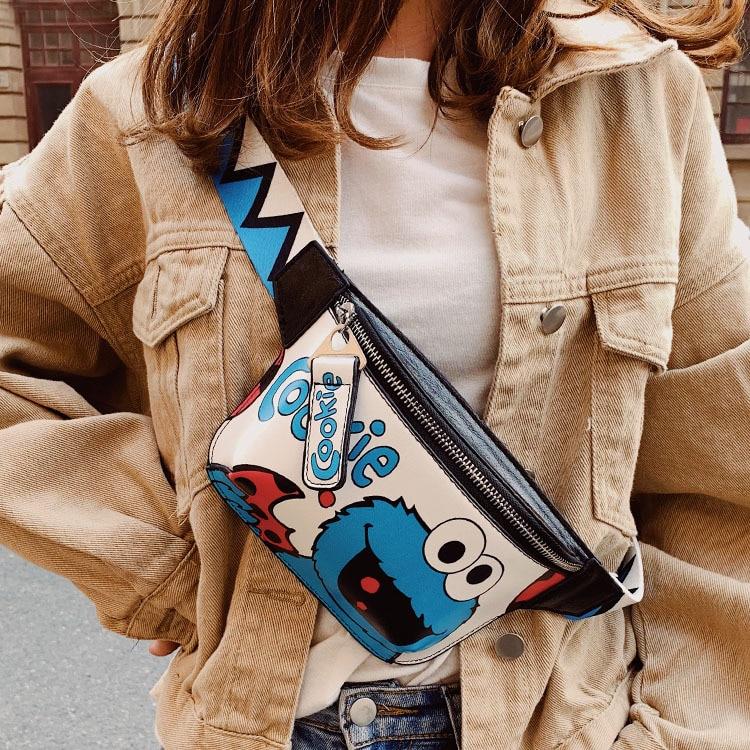 Small Black Bag Female 2019 New Ins Tide Lovely Cartoon Sesame Street Wild Messenger Bag Judi Pocket Chest Bag Trend