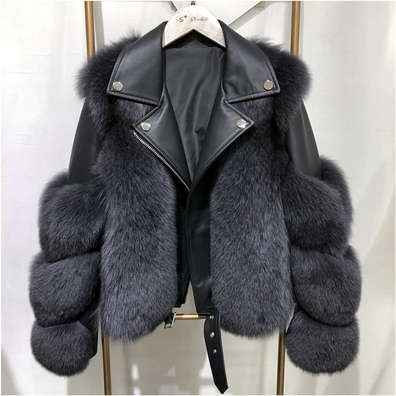 Women Faux Fur Coat with Fox Fur Winter Fashion 2021 New Motocycle Style Luxury Fox Fur Innrech Market.com