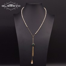 GLSEEVO collana con ciondolo lungo con nappa regolabile di perle d'acqua dolce naturale per donna catena da maglione da sposa gioielli di lusso GN0182