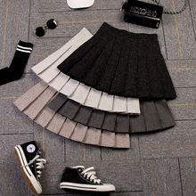 Женская юбка с завышенной талией черная плиссированная в студенческом