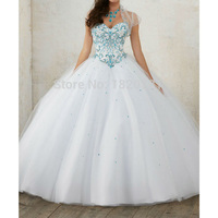 Crystal Prom Dress White Quinceanera Dress Ball Gown Sleeveless Lace Up Formal dress vestidos de 15 anos Sweetheart Prom Gown