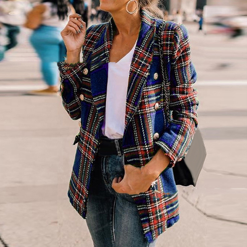 Women Plaid Long Sleeve Tops Jacket Blazer Outwear Autumn Office Work Party Coat
