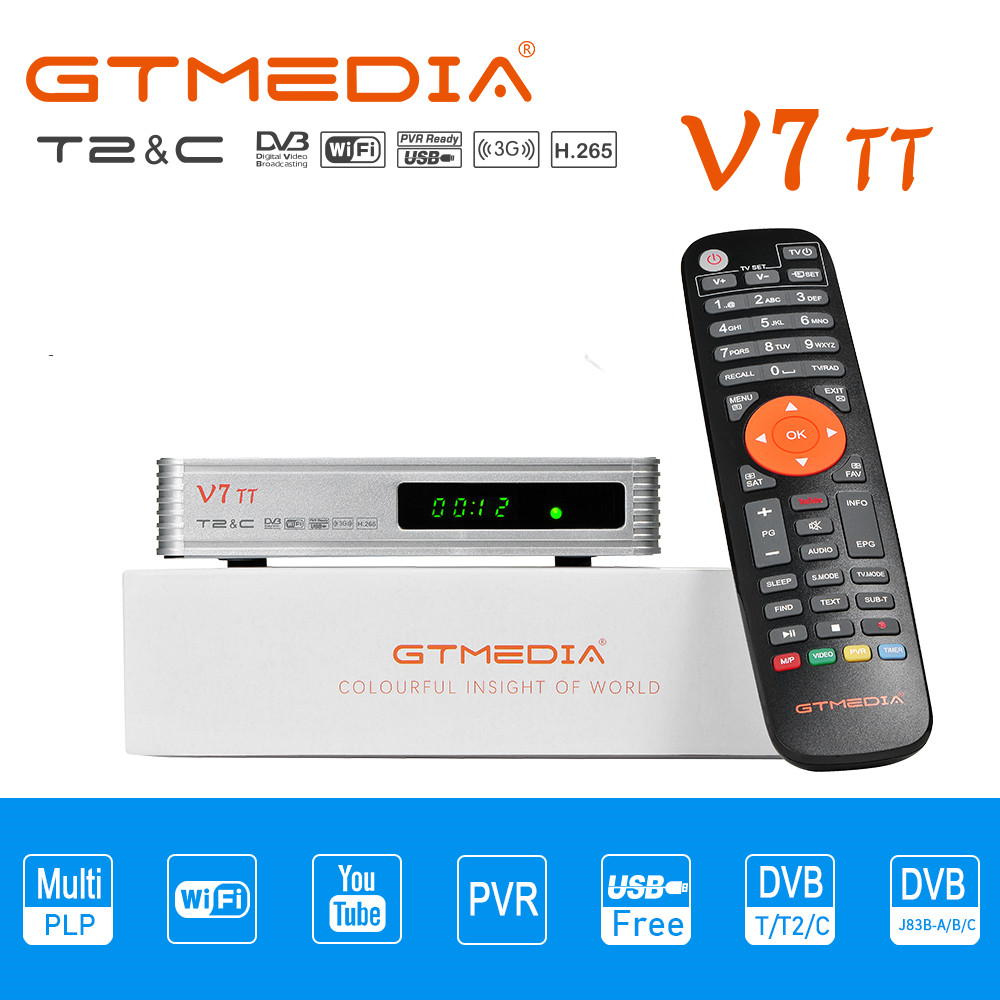 GTMEDIA V7 TT DVB-T2 DVB-S ТВ приемник Combo Цифровой Wi-Fi приемник Бесплатная H.265 Поддержка FULL HD 1080P со встроенной антенной ТВ коробка