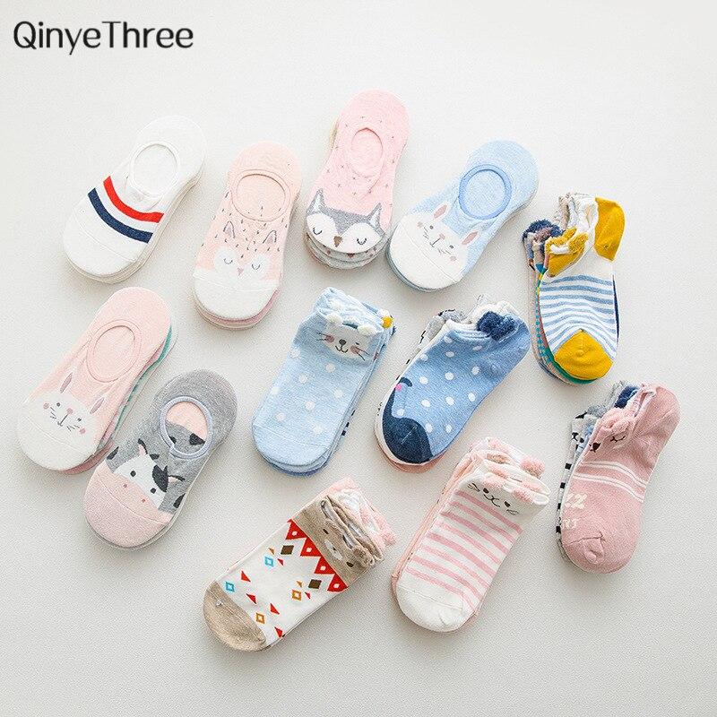 5Pairs Cute Women Cartoon Animal Socks Happy Summer Ankle Socks Short Socks Dog Bear Fox Ear Red Heart Girl Sokken Dropship