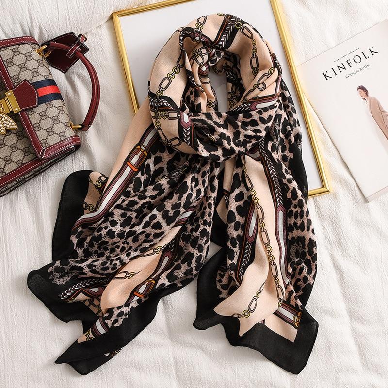 2020 New Design Brand Leopard Print Scarf Winter Spring Women Hijabs Cotton Shawls Foulard Bandana Pashmina Female Echarpe