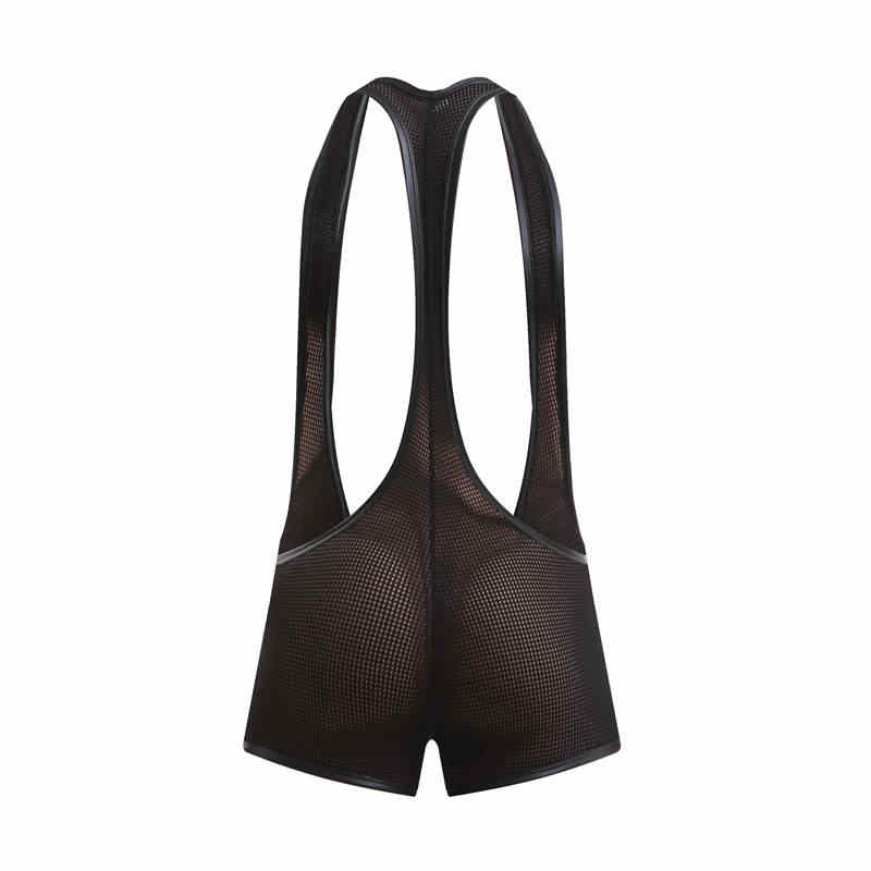 Maillot de corps Sexy pour hommes Stretch voir à travers le body poche de renflement Boxer Shorts lutte Gay singulet maille transparente justaucorps une pièce