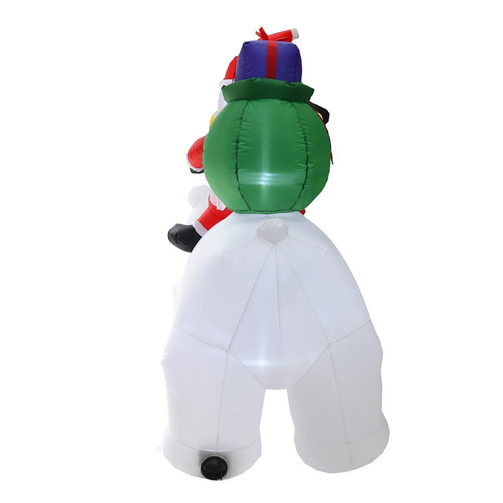 2M Oso Polar inflable Santa Claus montando Navidad muñeca inflable Año Nuevo Feliz Navidad decoración para el centro comercial - 3