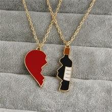 Collana con ciondolo a forma di cuore incrinato e bottiglia di vino Best Friends Forever Couple collana gioielli regalo Per una persona