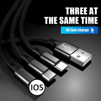 3 w 1 wielu typu C kabel do ładowania USB dla Android iOS linia danych komórkowy akcesoria do telefonu jeden przeciągając trzy danych kable do ładowania tanie i dobre opinie NoEnName_Null NONE TYPE-C LIGHTNING CN (pochodzenie) Micro Usb 1 pc for iOS Android Type-C Charging at the same time 50x0 08x2 tinned copper