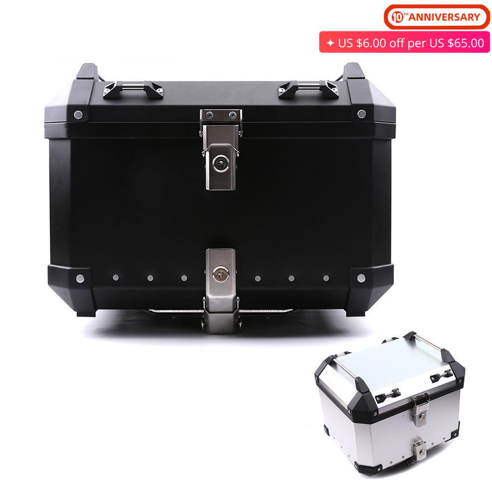 45L-65L Universal Motorcycle Rear Trunk Storage Moto Top Tool Box Waterproof Luggage Helmet Key Lock Tail Toolbox Case Aluminum