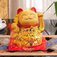 decoration accessories modern feng shui Gold electric shake hands Lucky cat figurine Ceramic bank birthday gifts home